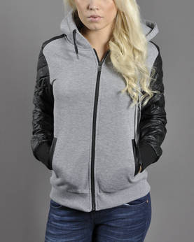 Urban Classics Ladies Leath.imit ZipHood - Huppari- ja Collegetakit - TB785 - 1